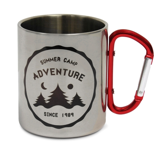 Picture of Stainless Steel Mug 300ml w/Red Carabiner Handle 8.8 x 7.5cm