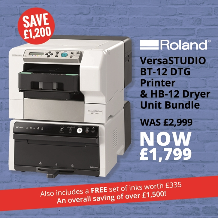 Save £1,200 on the Roland VersaStudio BT-12 DTG Printer and HP-12 Dryer Bundle