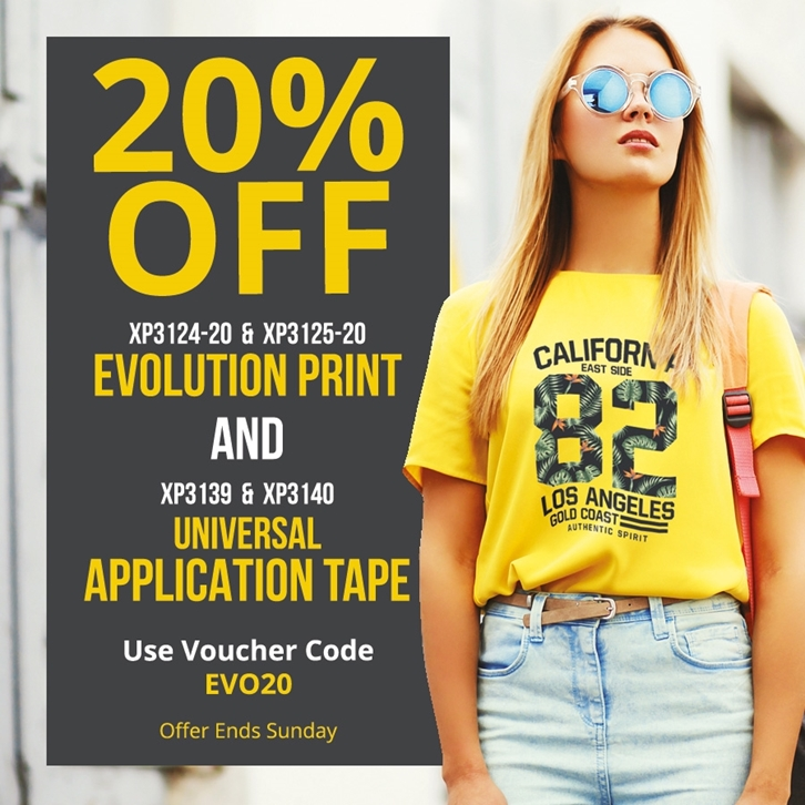 20% off Evolution Print and Application Tape