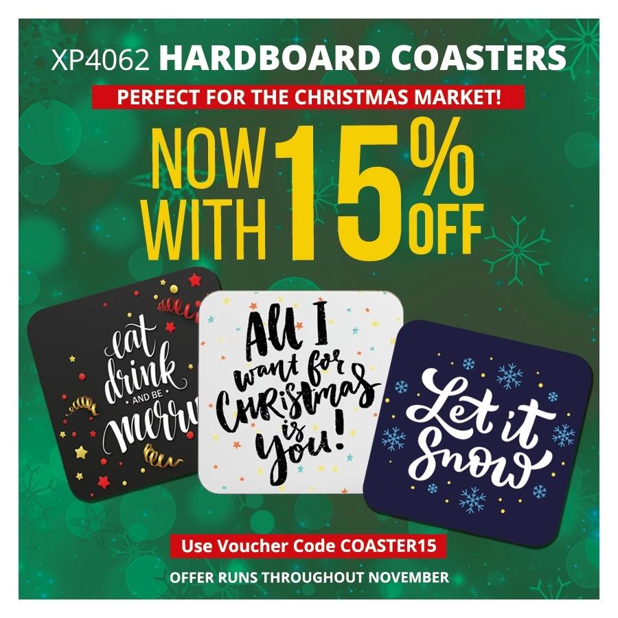 15% off Hardboard Coasters