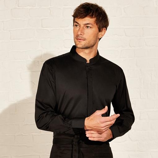 Picture of Bargear Men's Mandarin Collar Bar Shirt Long Sleeve