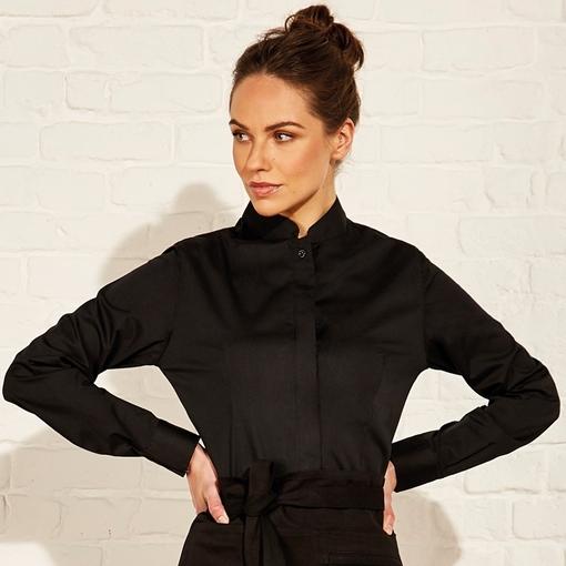 Picture of Bargear Women's Mandarin Collar Shirt Long Sleeve