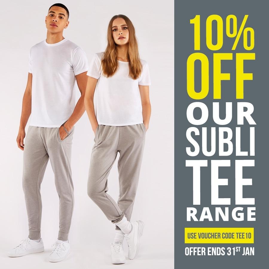 10% off our Subli Tee Range