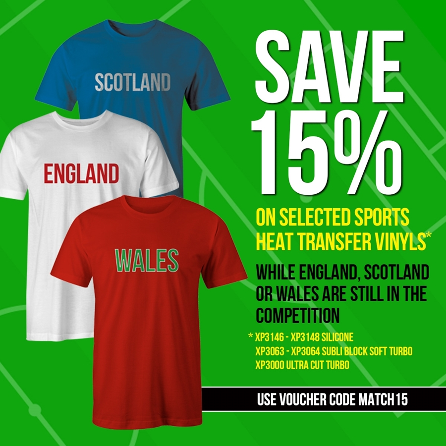 15% off Selected Sports HTV!