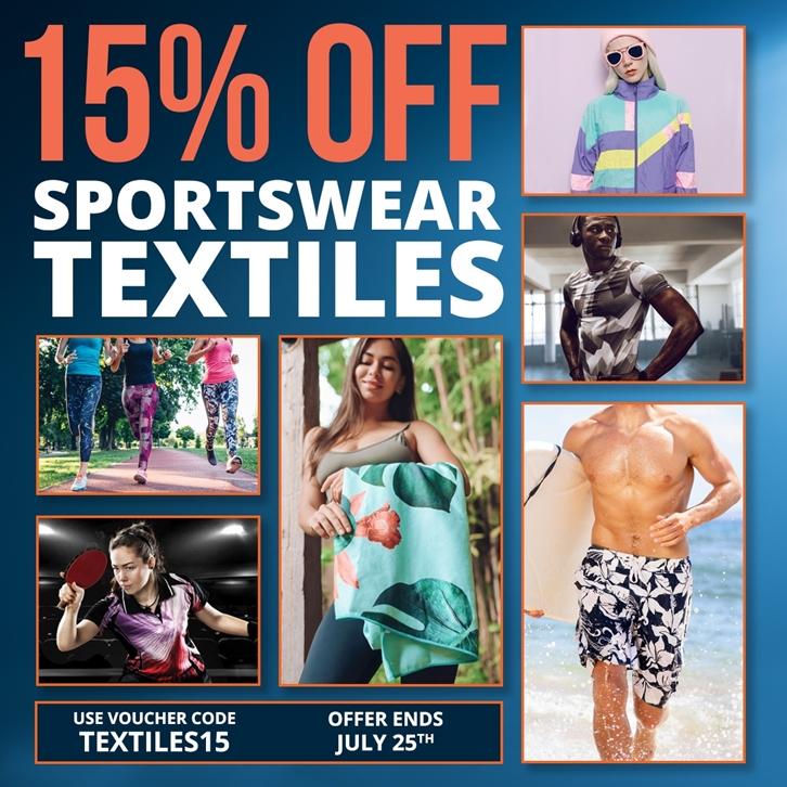 15% off Sportswear Textiles!